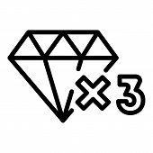 Diamond Bonus Loyalty Icon. Outline Diamond Bonus Loyalty Vector Icon For Web Design Isolated On Whi poster