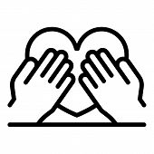 Hands Keep Heart Icon. Outline Hands Keep Heart Vector Icon For Web Design Isolated On White Backgro poster
