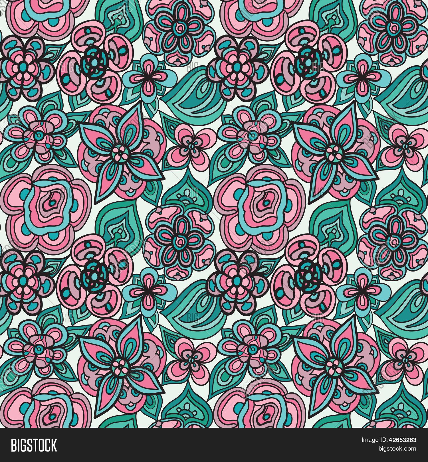 Fun floral leaf spring vector vector photo bigstock for Fun pattern wallpaper