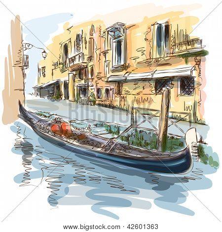 Venice - Calle Fondamenta Megio. Ancient building & gondola. Bitmap copy my vector