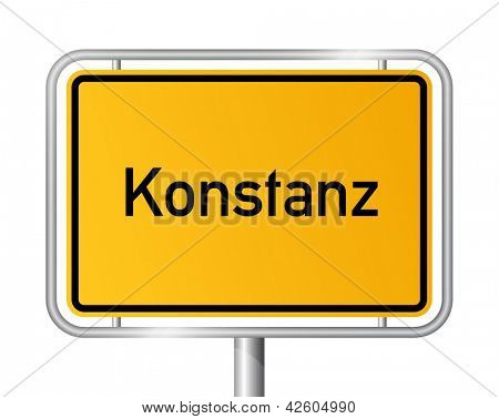 City limit sign Konstanz against white background - signage Constance - Baden Wuerttemberg, Baden W�¼rttemberg, Germany