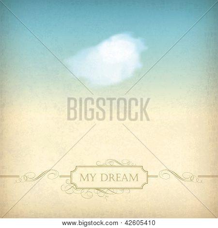 Vintage Sky Old Paper Background With Cloud, Frame