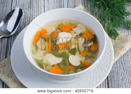 Chicken Soup With Vegetables And Mushrooms
