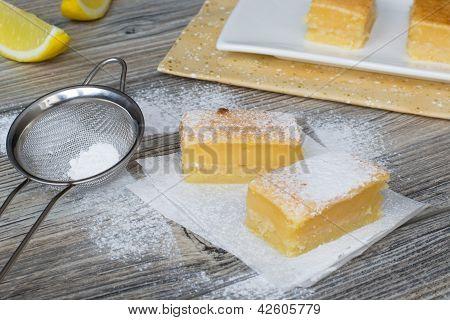Lemon Bars Powdered With Sugar