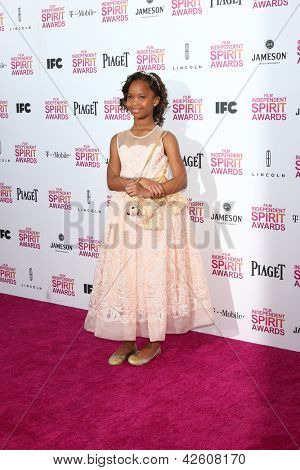 LOS ANGELES - FEB 23:  Quvenzhane Wallis attends the 2013 Film Independent Spirit Awards at the Tent on the Beach on February 23, 2013 in Santa Monica, CA
