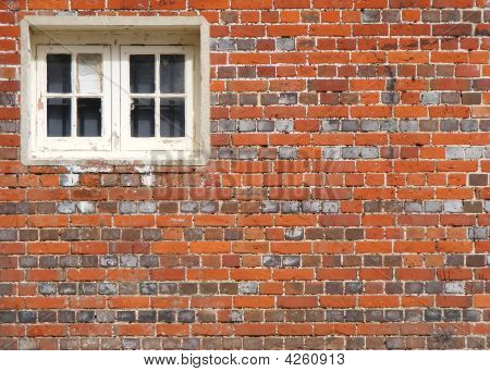 Victorian Brick Wall With Wooden Window