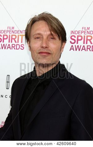 LOS ANGELES - FEB 23:  Mads Mikkelsen attends the 2013 Film Independent Spirit Awards at the Tent on the Beach on February 23, 2013 in Santa Monica, CA