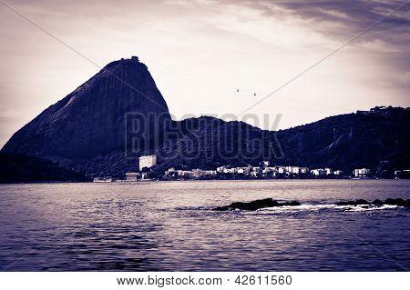 Sugar Loaf From A Boat At Baia De Guanabara In Rio De Janeiro