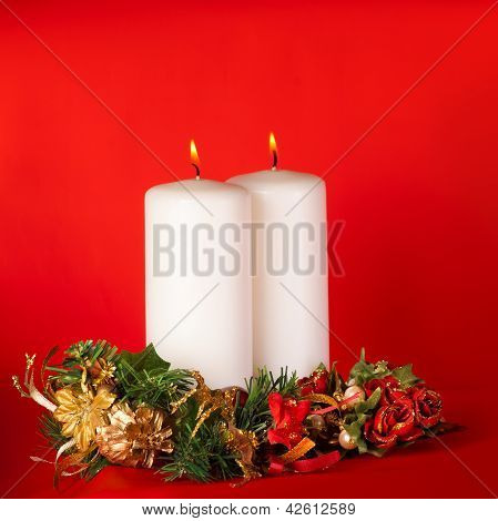 Christmas Candles. Red Background
