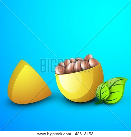 Yellow Easter egg box contains small eggs with green leaves on blue background..