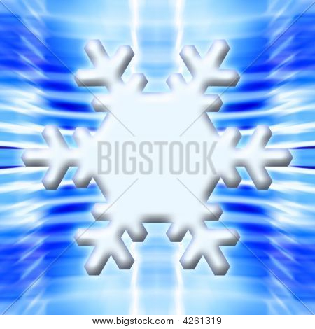 One Snowflake On Icy Blue