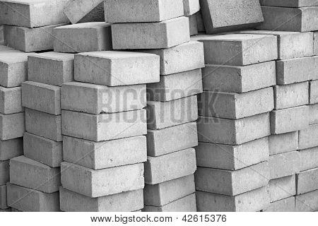Silicate Grey Paving Bricks In Stacks