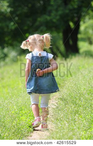 Beautiful Little Girl On Nature,