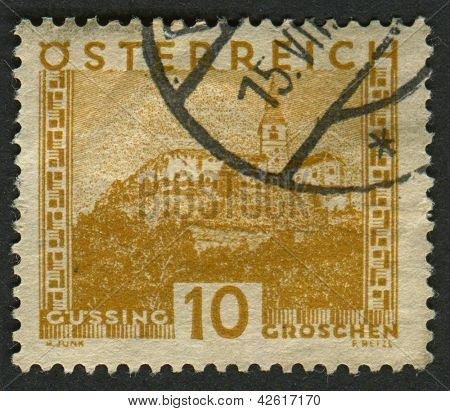 AUSTRIA - CIRCA 1929: A stamp printed in Austria shows image of the Burg G���¼ssing castle, circa 1929.