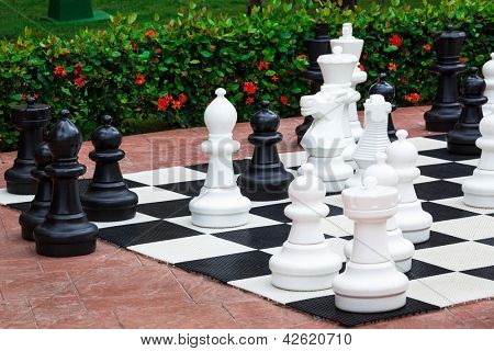 Chess great outdoors on a summer day