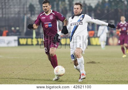 CLUJ-NAPOCA, ROMANIA - FEBRUARY 21: Cadu and Antonio Cassano in UEFA Europa League match, CFR 1907 Cluj vs UInter Milan, on 21 February, 2013 in Cluj-Napoca, Romania