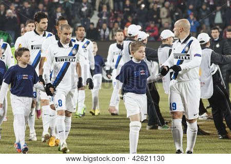 CLUJ-NAPOCA, ROMANIA - FEBRUARY 21: inter Milan players before UEFA Europa League match, CFR 1907 Cluj vs UInter Milan, on 21 February, 2013 in Cluj-Napoca, Romania
