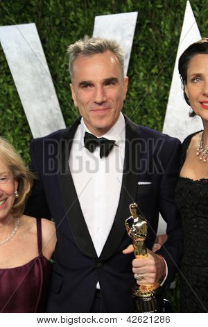 WEST HOLLYWOOD, CA - FEB 24: Daniel Day-Lewis at the Vanity Fair Oscar Party at Sunset Tower on February 24, 2013 in West Hollywood, California