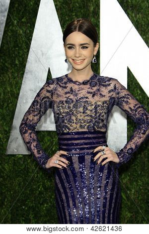WEST HOLLYWOOD, CA - FEB 24: Lily Collins at the Vanity Fair Oscar Party at Sunset Tower on February 24, 2013 in West Hollywood, California