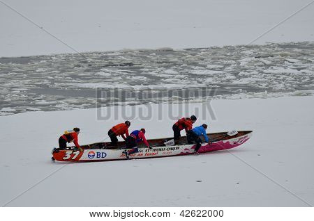 Ice Canoe Race on St. Lawrence River