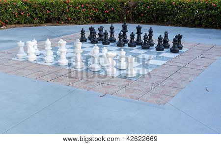 Full Set Of Pieces Outdoor Chess In Garden