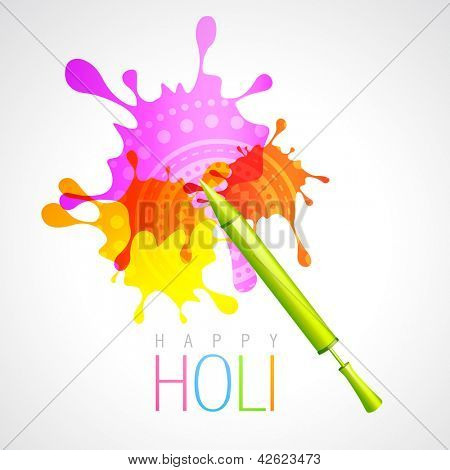 vector holi pichkari with colorful splash background