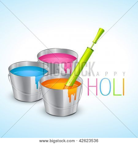 vector illustration of colorful holi festival bucket with colors and pichkari