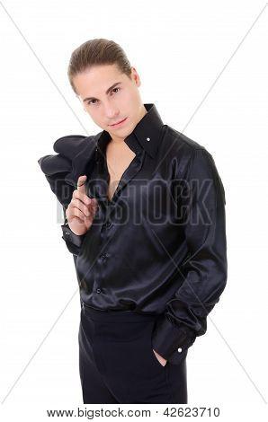 Elegant Young Man Macho In Black