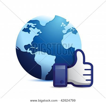 Earth Globe Thumb Up