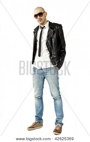portrait of man with black leather jacket, isolated on white background