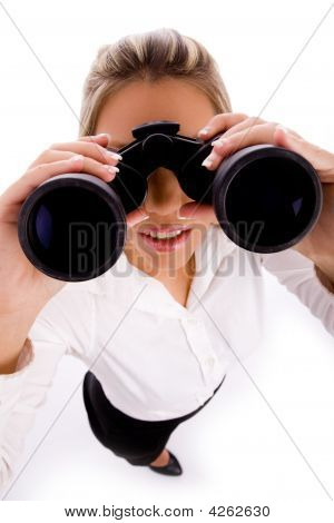 Top View Of Manager Looking Through Binocular
