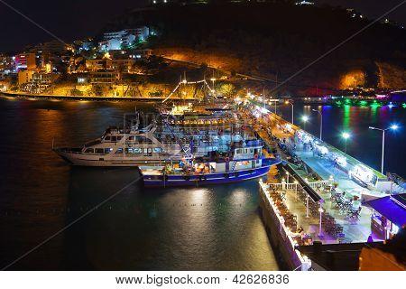 Night View Of Kusadasi Turkey