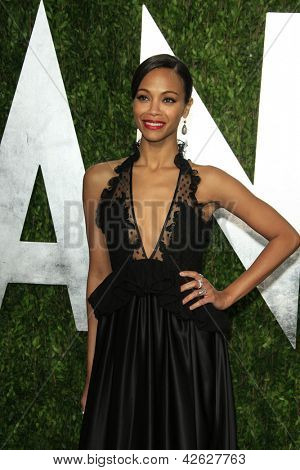 WEST HOLLYWOOD, CA - FEB 24: Zoe Saldana at the Vanity Fair Oscar Party at Sunset Tower on February 24, 2013 in West Hollywood, California