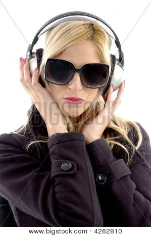 Front View Of Woman Listening Music
