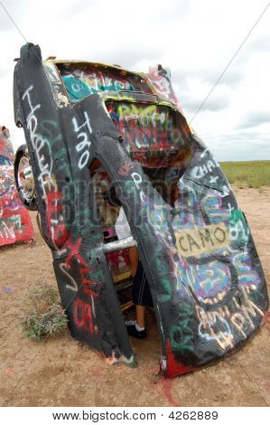 Black Car At Cadillac Ranch Tx