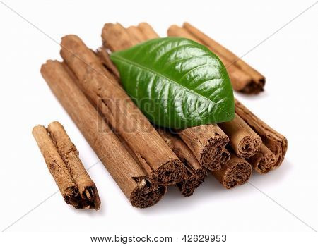 Dried bark of cinnamon with leaf