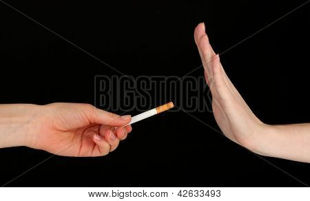 Concept: stop smoking, on black background
