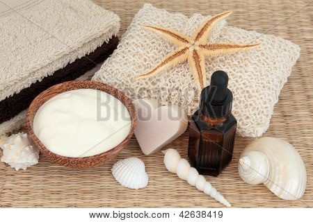 Natural skincare products with coconut soap,  moisturising cream, aromatherapy essential oil  and bathroom accessories