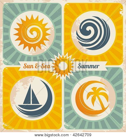 Retro summer holiday poster