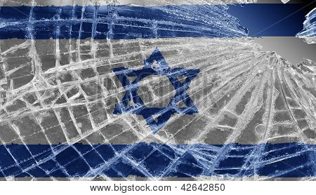 Broken Ice Or Glass With A Flag Pattern, Israel