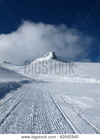 Ski Slope And Ski Tracks