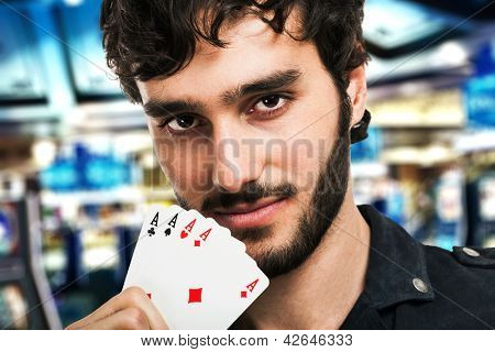 Portrait of an handsome gambler