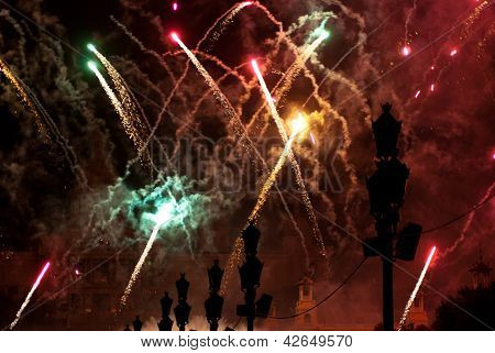 Fireworks In Barcelona Spain