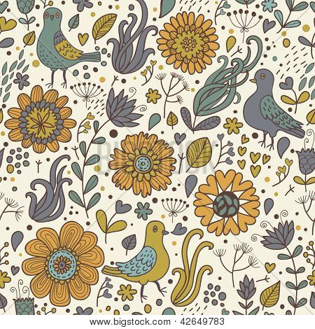 Pigeons in vintage flowers. Classical seamless pattern in vector