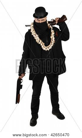 Vampire hunter in black with two shotguns rifles
