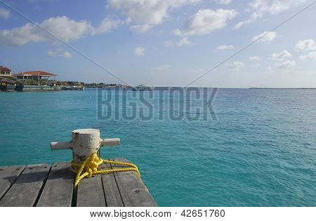 Mooring Bollard On A Wooden Dock In The Caribbean.