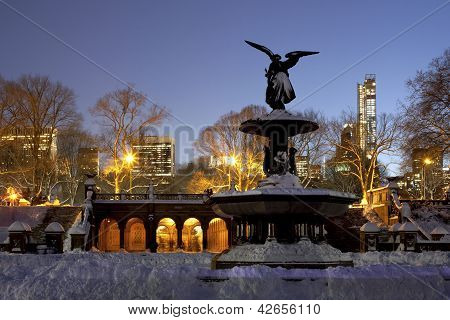 Bethesda Fountain Central Park After Snow Storm Nemo
