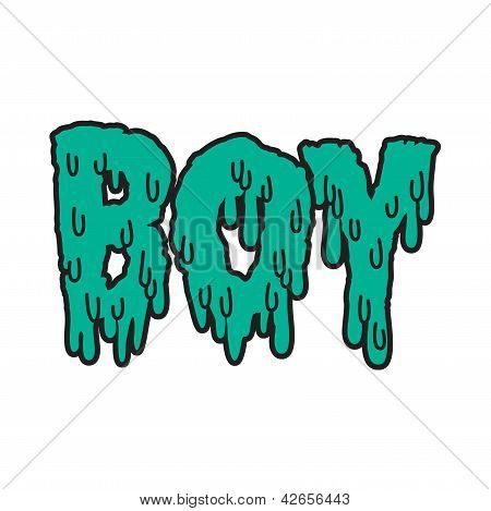 Vector drippy boy text in blue
