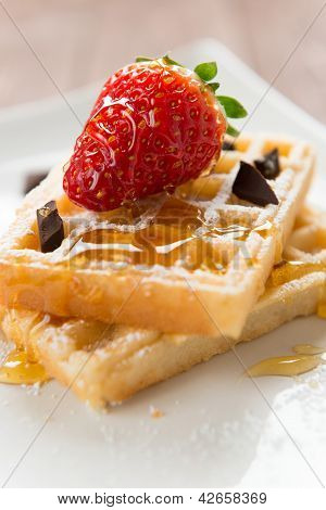 Waffel With Strawberry, Honey And Chocolate