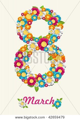 Floral And Leaves March Women Month Card